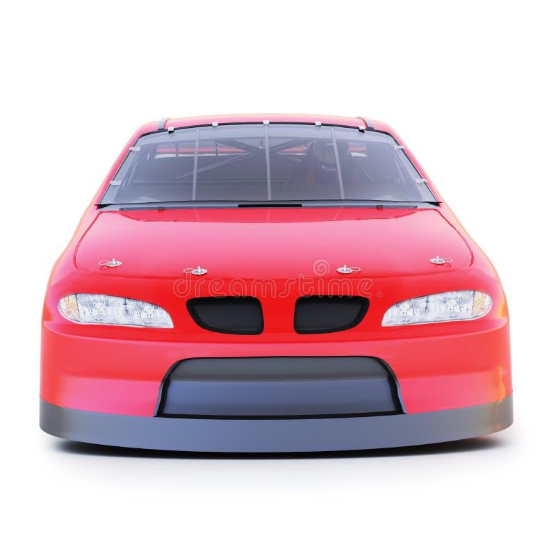 Vue de face d'une voiture de course automatique de sports mécaniques génériques rouges sur un fond blanc d'isolement illustration libre de droits