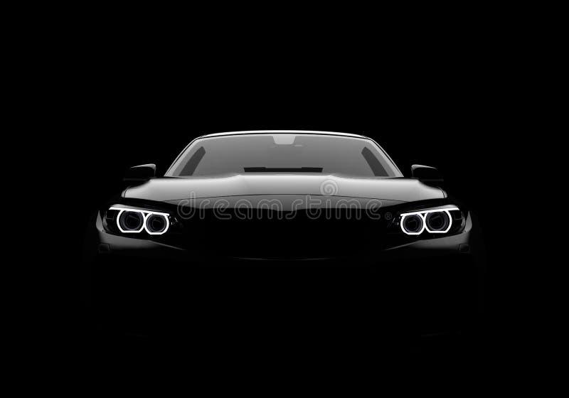 Vue de face d'une voiture moderne générique et brandless sur un fond noir illustration stock