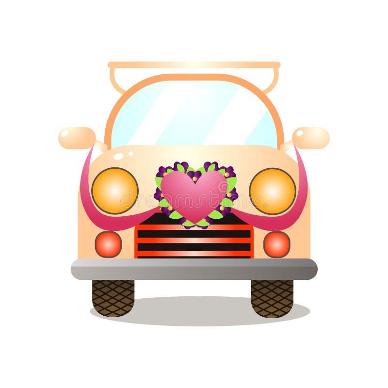 Vue de face de dans voiture jaune colorée de couples d'amour rétro illustration libre de droits