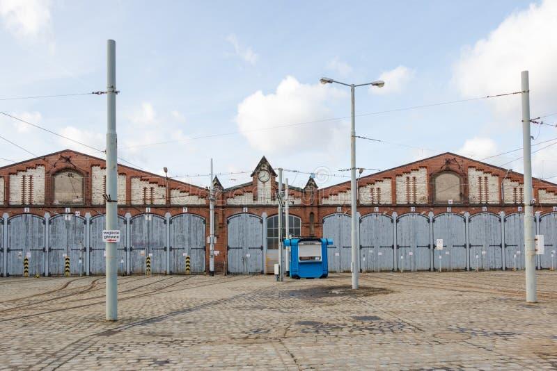 Vue de face de depo historique antique de tram, Wroclaw, Pologne photos stock