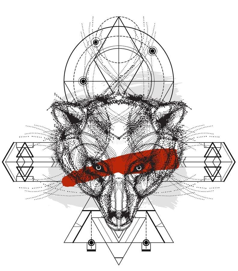 Vue de face de griffonnage de tête d'ours illustration stock