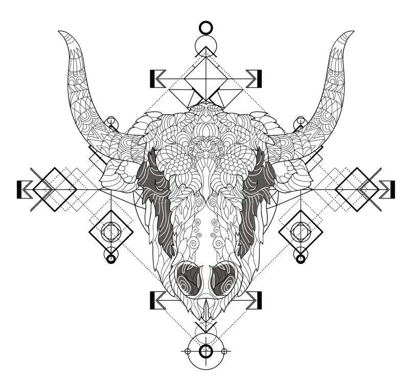 Vue de face de griffonnage de tête de yaks illustration libre de droits