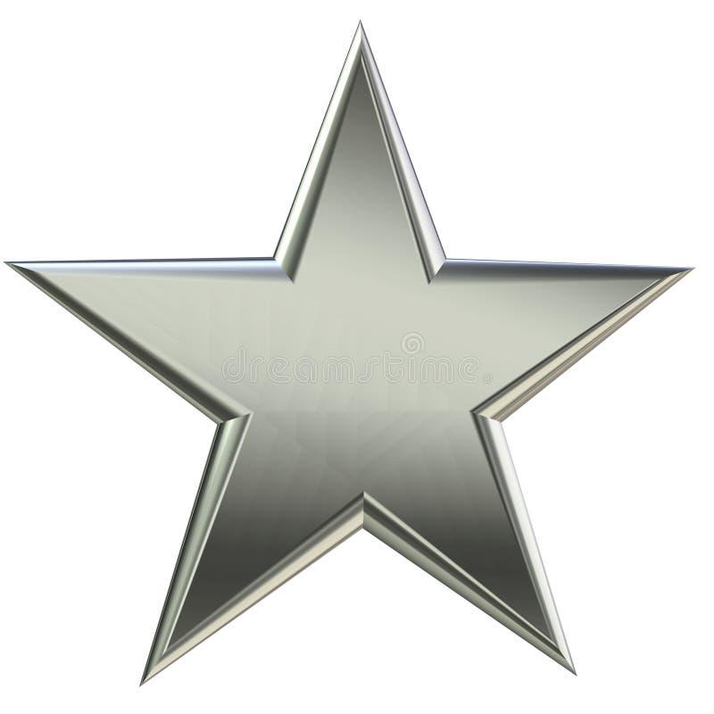 vue de face de l'étoile 3d argentée illustration de vecteur