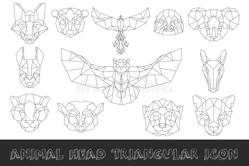 Vue de face de l'icône triangulaire principale animale illustration stock