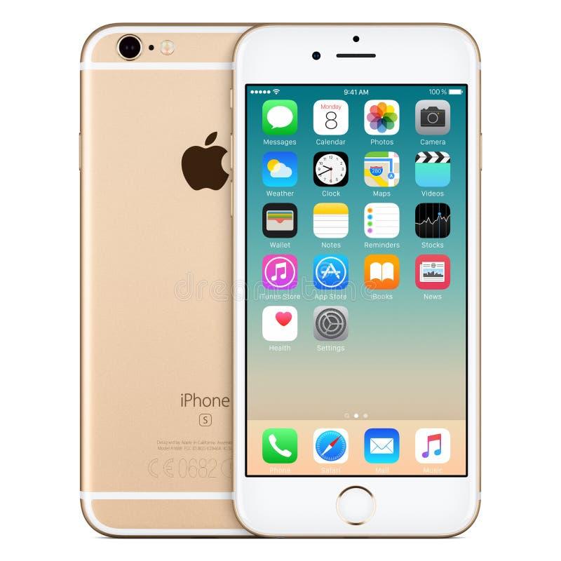 Vue de face de l'iPhone 6s d'Apple d'or avec IOS 9 sur l'écran photographie stock libre de droits