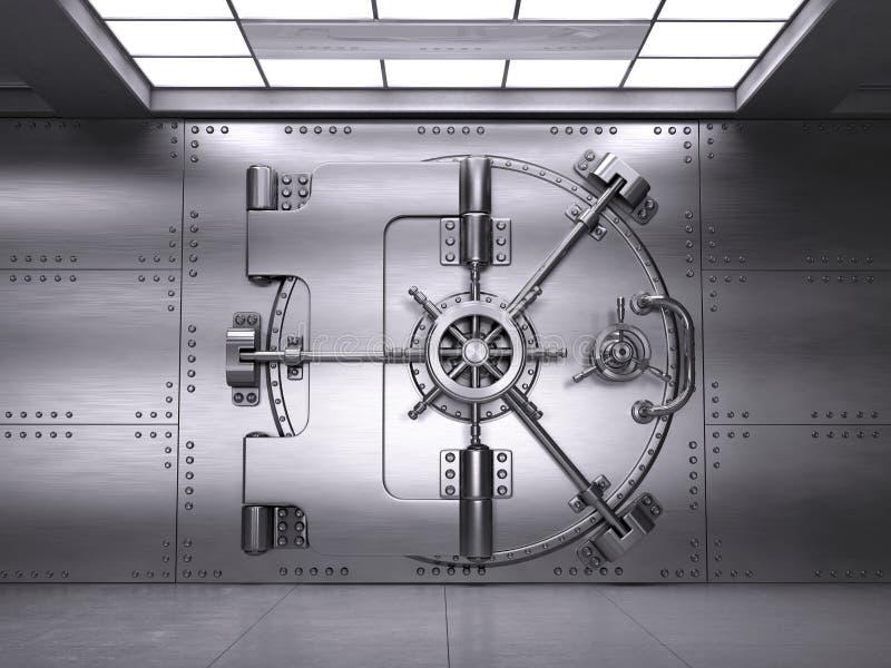 Vue de face de porte fermée de chambre forte de banque illustration stock