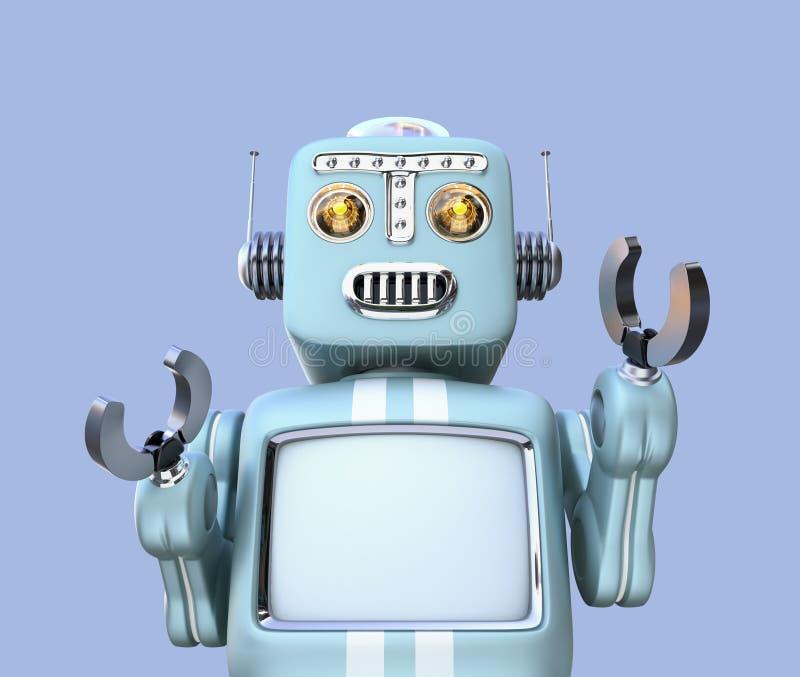 Vue de face de rétro robot d'isolement sur le fond bleu illustration de vecteur
