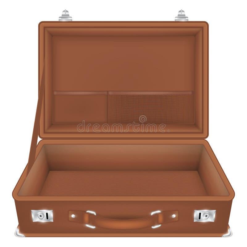 Vue de face de sac ouvert de voyage de valise illustration de vecteur