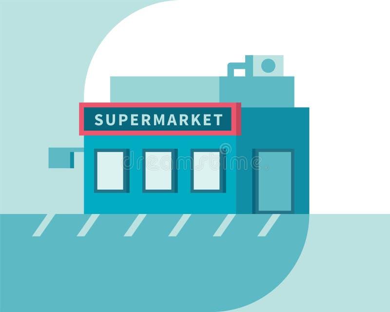 Vue de face de supermarché Bâtiment de boutique du marché Illustration plate de vecteur illustration de vecteur