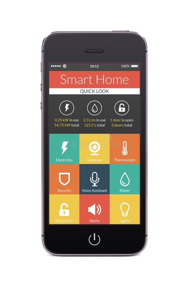 Vue de face de téléphone intelligent noir avec l'application à la maison futée sur t illustration libre de droits
