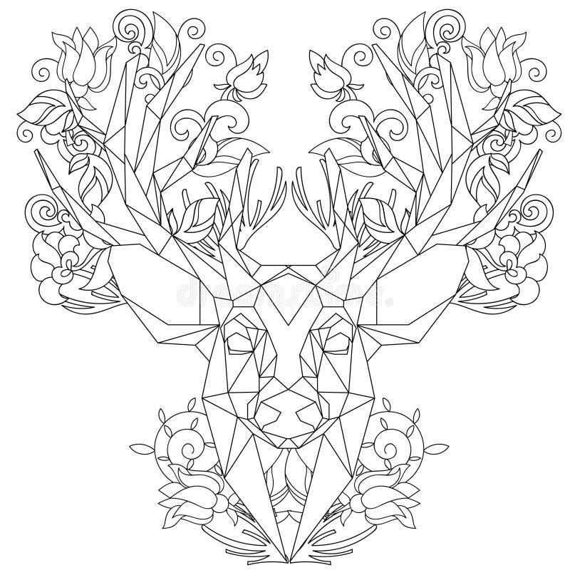 Vue de face des cerfs communs triangulaires principaux animaux d'icône illustration libre de droits