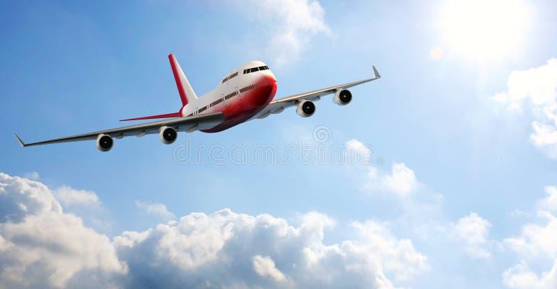 Vue de face du vol d'avion par des nuages photographie stock libre de droits