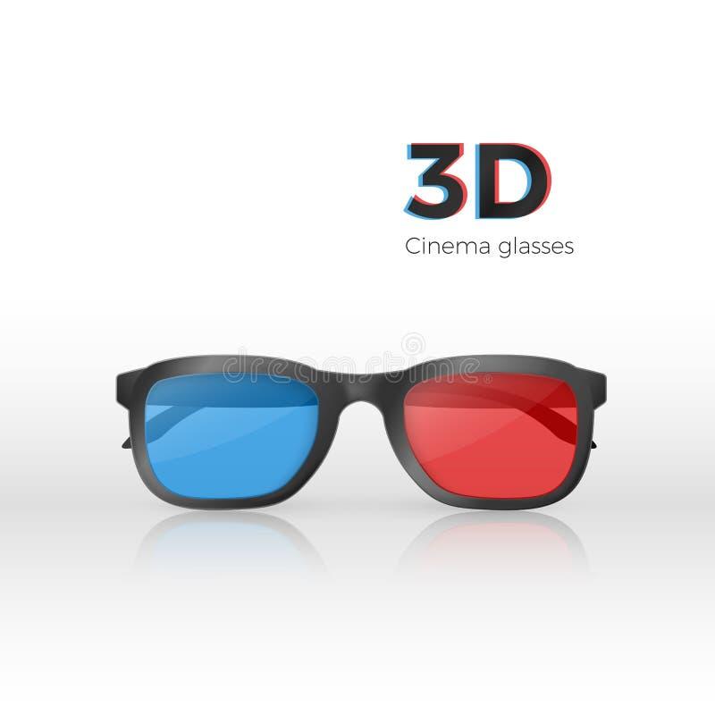 Vue de face en verre réalistes du cinéma 3d Verres en plastique avec le verre rouge et bleu pour des films de observation Illustr illustration de vecteur