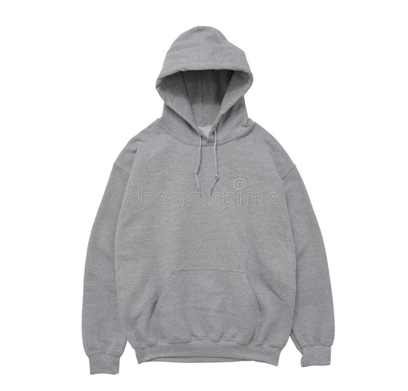 vue de face grise de hoodie de couleur vide de pull molletonné photo stock