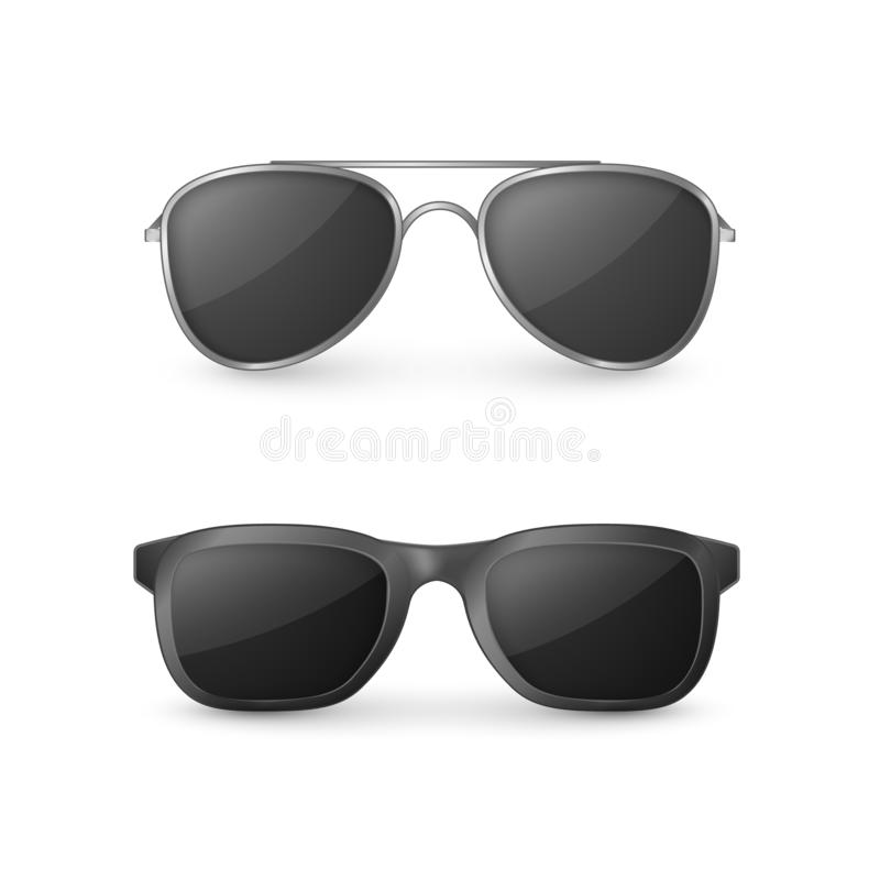 Vue de face de lunettes de soleil r?alistes Verres en plastique Illustration de vecteur d'isolement sur le fond blanc illustration stock