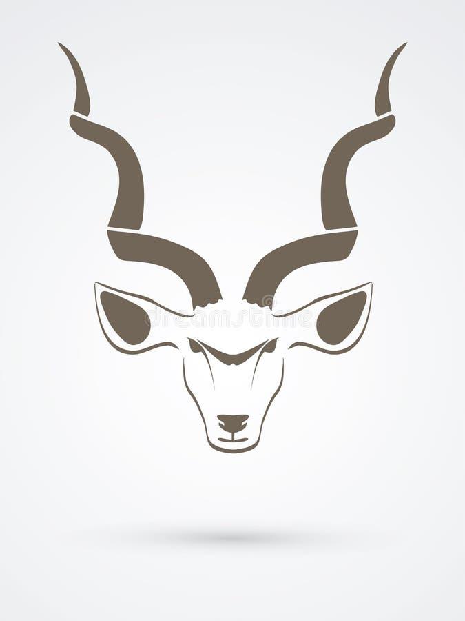 Vue de face principale de Kudu illustration de vecteur