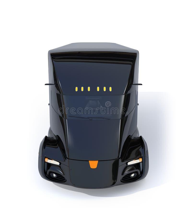 Vue de face semi du camion électrique auto-moteur d'isolement sur le fond blanc photo stock