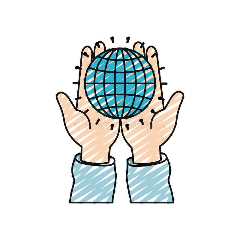 Vue de face de silhouette de crayon de couleur des mains tenant dans des paumes un diagramme de globe avec des lignes illustration stock