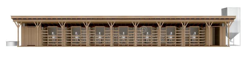 Vue de face stable de cheval d'isolement sur le rendu 3d blanc illustration libre de droits