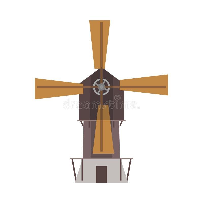 Vue de face de vecteur d'industrie de technologie de moulin à vent Icône plate environnementale de blé de champ de ferme de vent  illustration stock