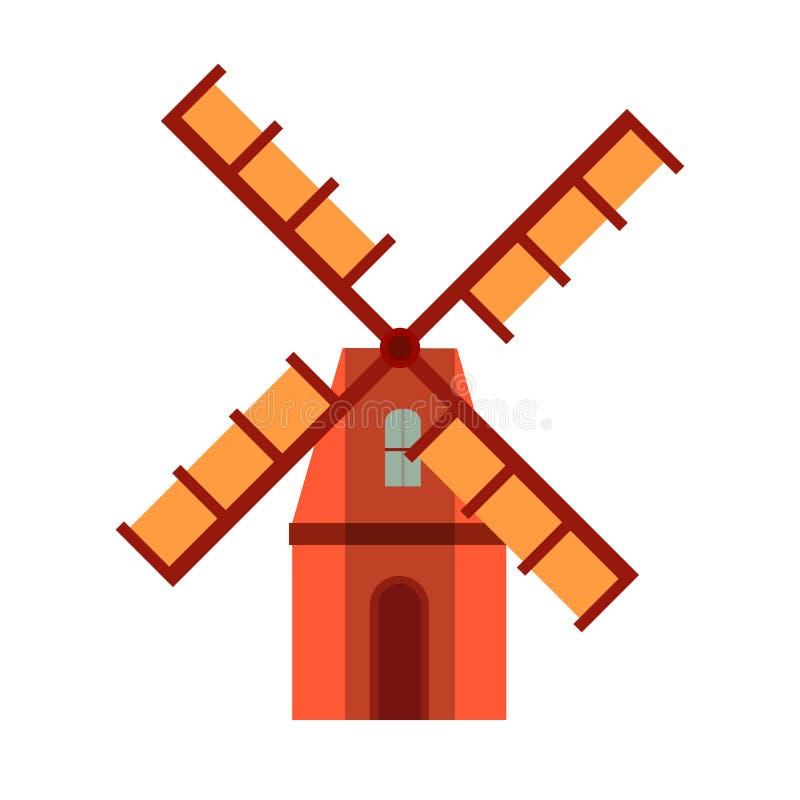 Vue de face de vecteur d'industrie de technologie de moulin ? vent Icône environnementale de blé de champ de ferme de vent illustration libre de droits