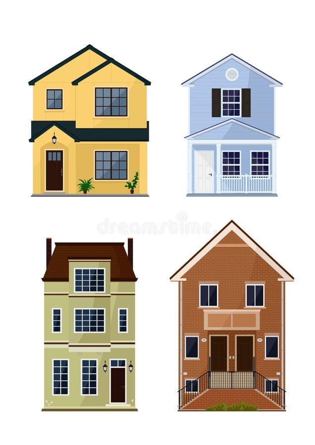 Vue de face de ville et de maisons suburbaines illustration de vecteur