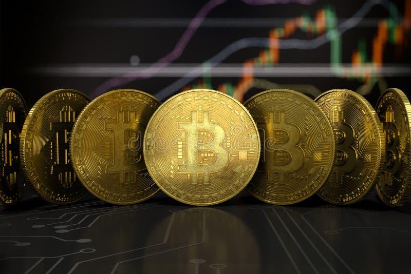 Vue de face virtuelle d'or d'argent de Bitcoin images libres de droits