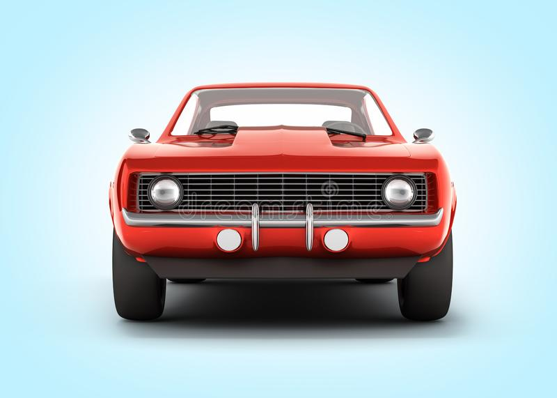 Vue de face de voiture de muscle sur le fond bleu 3d de gradient illustration libre de droits