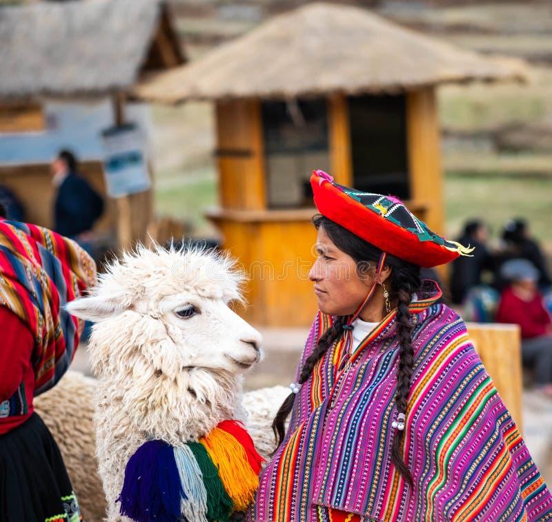 Vue de femme dans l'habillement national et le lama hirsute blanc dans Sacsayhuaman photographie stock libre de droits