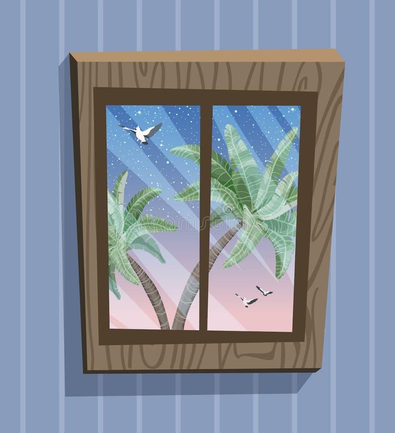 Vue de fenêtre de bande dessinée Nuit de Starlight sur l'île de paradis illustration stock