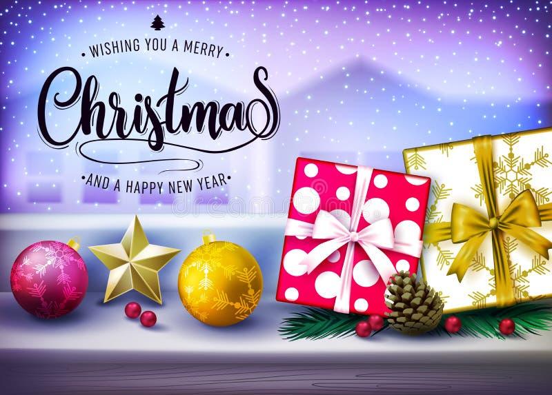Vue de fenêtre neigeant en dehors de la conception réaliste de Noël avec des cadeaux illustration libre de droits
