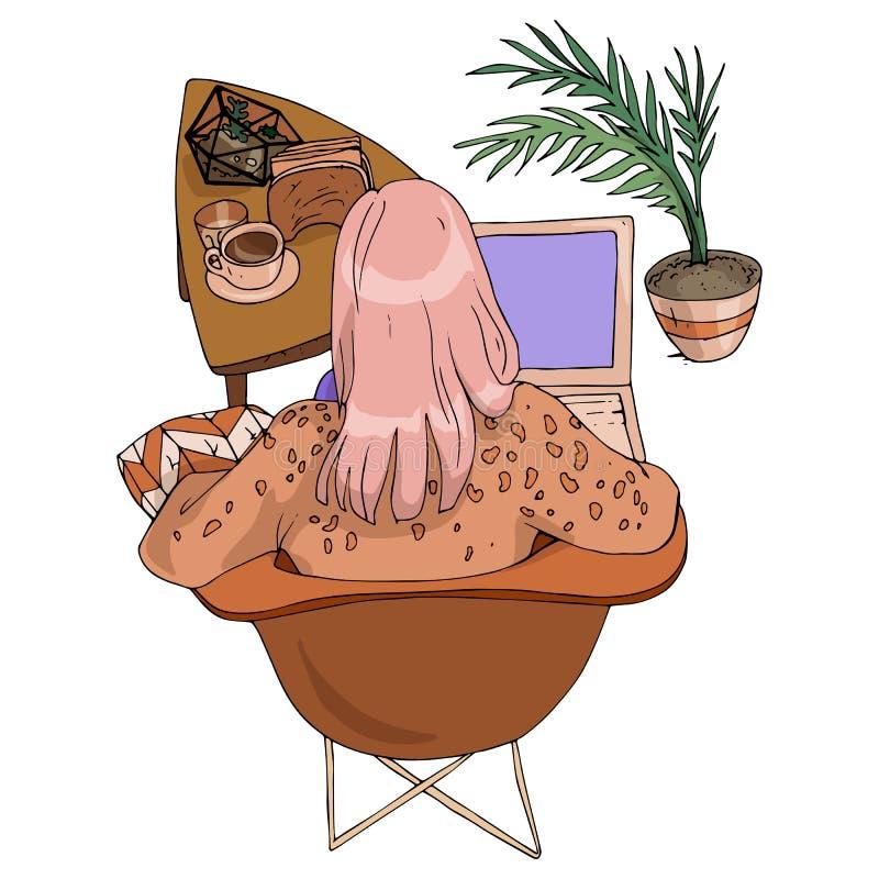 Vue de fille d'illustration de mode de vecteur du dos avec du café et le carnet se reposant sur une chaise en café dans le rose e illustration stock