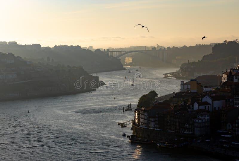 Vue de fin de l'après-midi de rivière de Douro à Porto photos libres de droits