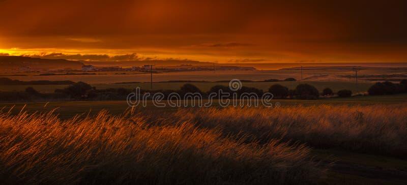 Vue de Flamborough semblant du nord le long de la Côte Est vers ni photographie stock libre de droits