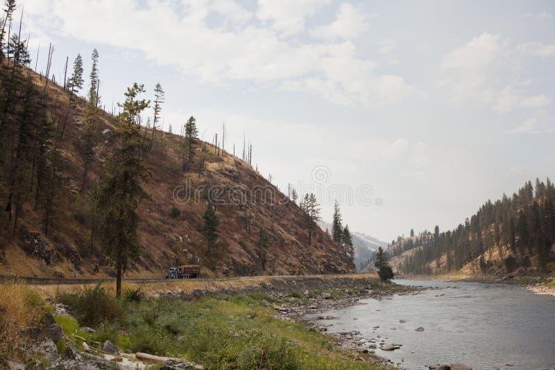Vue de fleuve de Clearwater à l'ouest de Kamiah photos libres de droits