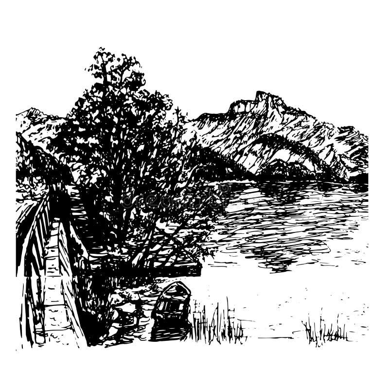 Vue de fond d'illustration tirée par la main de Mondsee de lac illustration de vecteur