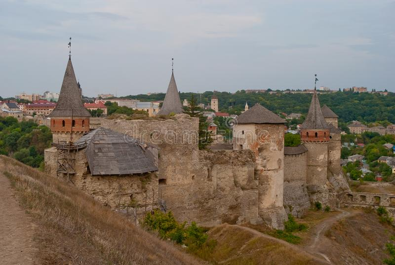 Vue de forteresse, Kamianets-Podilskyi, Ukraine images stock