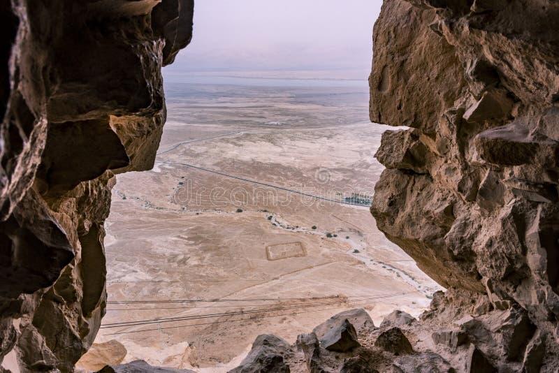 Vue de forteresse de Masada image stock