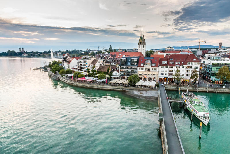 Vue de Friedrichshafen-lac Constance, Allemagne photographie stock
