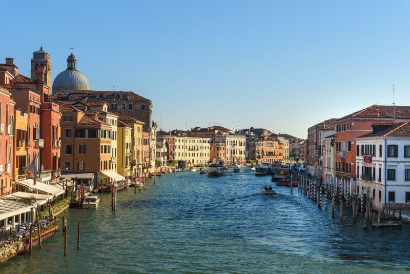 Vue de Grand Canal de Ponte Degli Scalzi, pont de Scalzi à Venise l'Italie image libre de droits