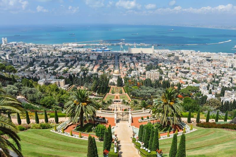 Vue de Haïfa de la colline images libres de droits