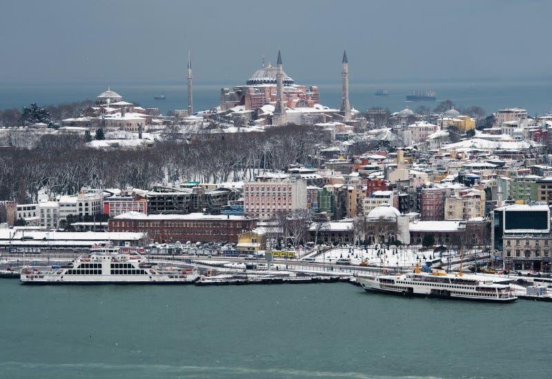 Vue de Hagia Sophia Ä°stanbul de tour de Galata images libres de droits
