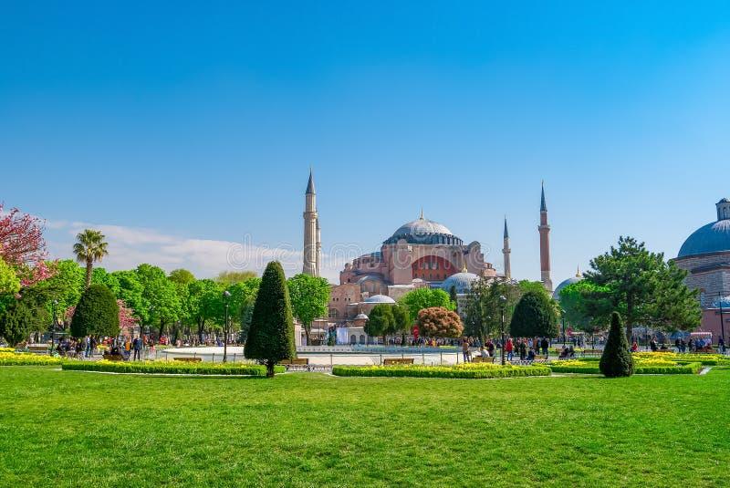 Vue de Hagia Sophia de parc de Sultanahmet Istanbul, Turquie images libres de droits