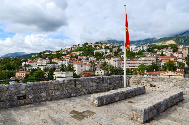 Vue de Herceg Novi des murs de jument de forte, Monténégro image libre de droits