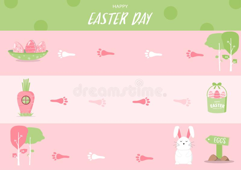 Vue de jeu de Pâques de conseil, cadre drôle, jeux de société, lapin, oeufs, illustrations de vecteur illustration stock