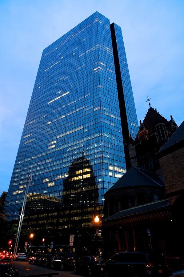 Vue de John Hancock Tower au crépuscule à Boston photographie stock