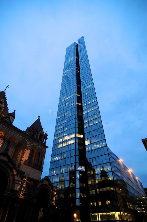 Vue de John Hancock Tower au cr?puscule ? Boston image libre de droits