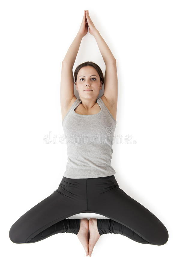 Vue de konasana_top de baddha de gray_supta de femme de yoga images libres de droits