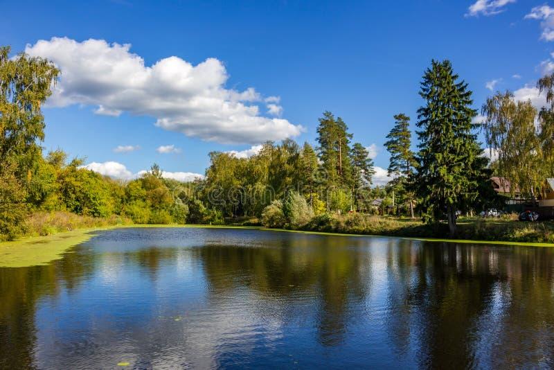 Vue de l'étang supérieur de Komsomolskiy photographie stock libre de droits