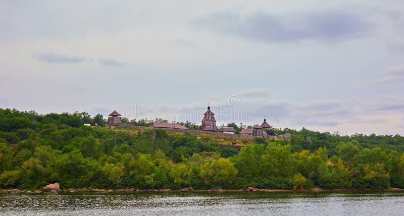 Vue de l'île de Khortytsya de la rivière de Dnieper  images libres de droits
